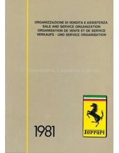 1981 FERRARI VERKAUFS - UND SERVICE ORGANISATION HANDBUCH 192/80