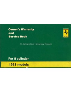 1981 FERRARI 308 GTS WARRANTY CARD & OWNERS SERVICE BOOK 187/80