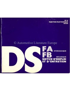 1970 CITROEN DS21 FA HYDRAULIQUE / FB MECANIQUE BETRIEBSANLEITUNG FRANZÖSISCH