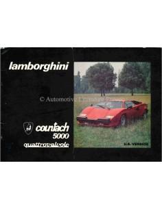 1986 LAMBORGHINI COUNTACH 5000 QV OWNERS MANUAL SUPPLEMENT US EDITION