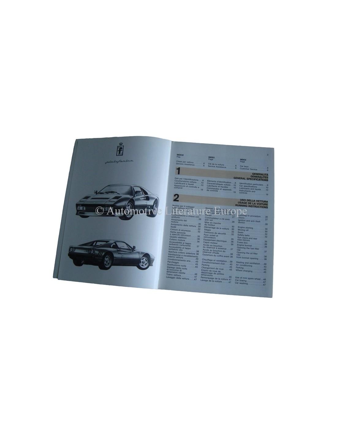 Ferrari Repair Manuals: 1985 FERRARI 288 GTO OWNERS MANUAL HANDBOOK