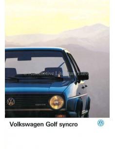 1986 VOLKSWAGEN GOLF SYNCRO BROCHURE DUTCH