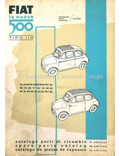 1960 FIAT 500 TIPO 110 ERSATZTEILKATALOG KAROSSERIE