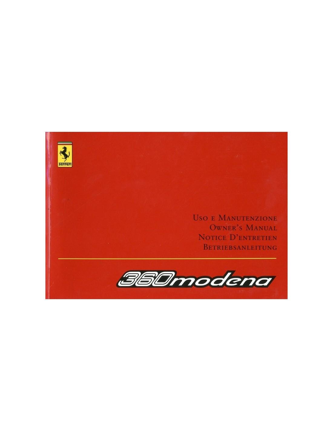 Ferrari Repair Manuals: 2002 FERRARI 360 MODENA OWNERS MANUAL 1770/02