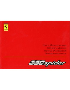 2004 FERRARI 360 SPIDER OWNERS MANUAL 1772/02