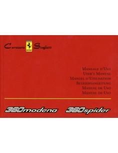2003 FERRARI 360 MODENA & SPYDER CARROZZERIA SCAGLIETTI OWNERS MANUAL 1905/03