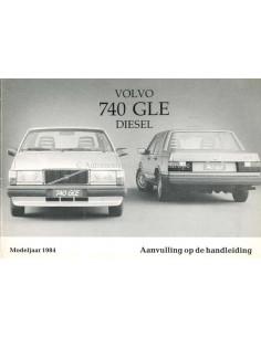 1984 VOLVO 740 GLE DIESEL ANHANG BETRIEBSANLEITUNG NIEDERLANDISCH