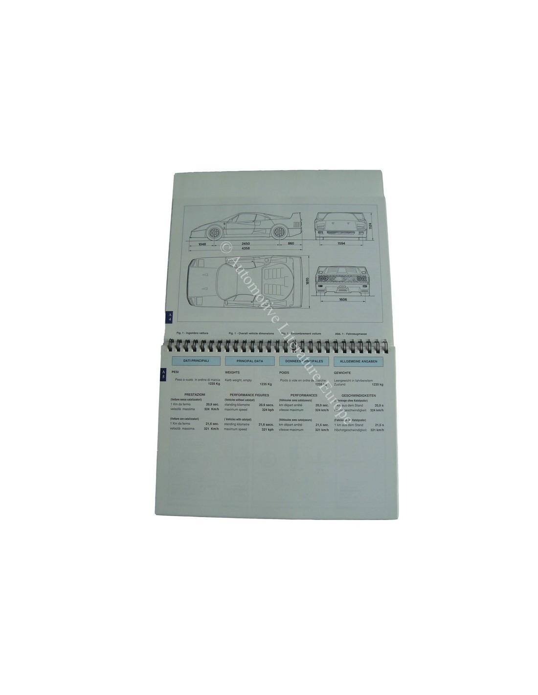 Ferrari Repair Manuals: 1988 FERRARI F40 OWNERS MANUAL 512A/88