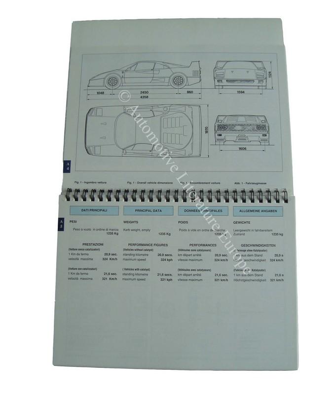 Ferrari Repair Manuals: 1990 FERRARI F40 OWNER'S MANUAL 610/90