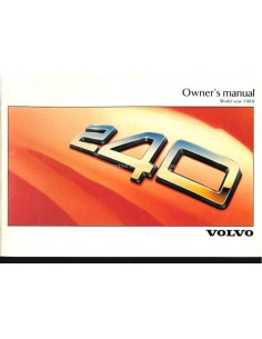 1988 VOLVO 240 OWNERS MANUAL ENGLISH