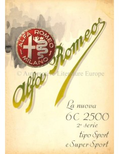 1947 ALFA ROMEO 6C 2500 SPORT & SUPER SPORT BROCHURE ITALIAANS