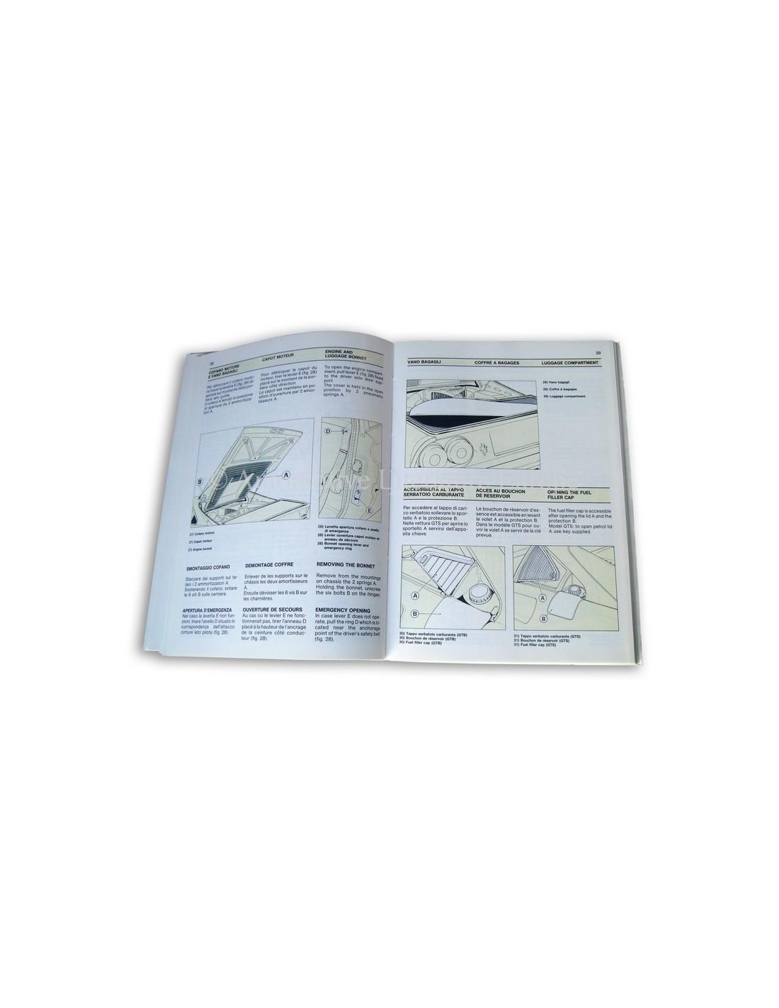 Ferrari Repair Manuals: 1988 FERRARI TURBO GTB & GTS OWNERS MANUAL 494/88