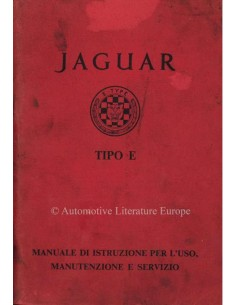 1962 JAGUAR E TYPE 3.8 OWNERS MANUAL ITALIAN
