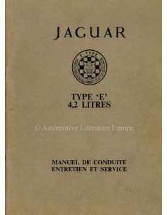 1964 JAGUAR E TYPE 4.2 OWNERS MANUAL FRENCH
