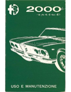 1961 ALFA ROMEO 2000  SPRINT OWNERS MANUAL ITALIAN