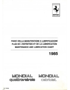 1985 FERRARI QUATTROVALVOLE & MONDIAL CABRIOLET WARTUNGS- UND SCHMIERTABELLE