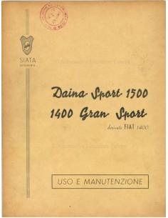 1950 SIATA DAINA SPORT 1500 / 1400 GRAN SPORT INSTRUCTIEBOEKJE ITALIAANS