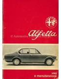 1974 ALFA ROMEO ALFETTA OWNERS MANUAL ITALIAN