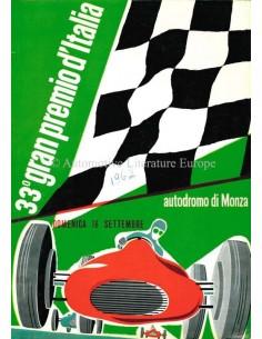 1962 33. GROßER PREIS VON ITALIEN (MONZA) OFFIZIELLER KATALOG ITALIENISCH