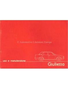 1979 ALFA ROMEO GIULIETTA OWNERS MANUAL ITALIAN