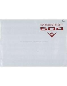 1974 PEUGEOT 504 CABRIOLET COUPÉ V6 BROCHURE DUTCH