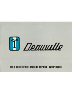 1972 DE TOMASO DEAUVILLE OWNERS MANUAL