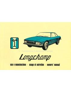 1979 DE TOMASO LONGCHAMP BETRIEBSANLEITUNG