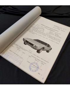 1968 DE TOMASO MANGUSTA F.I.A. GR.4 HOMOLOGATION SHEET ITALIAN