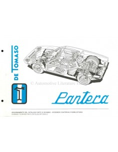 1972 DE TOMASO PANTERA SPARE PARTS MANUAL SUPPLEMENT ITALIAN / ENGLISH