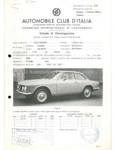 1969 ALFA ROMEO 1750 GT AM F.I.A. HOMOLOGATION DATENBLATT ITALIENISCH