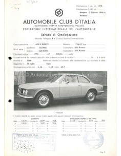1969 ALFA ROMEO 1750 GT AM F.I.A. HOMOLOGATION SHEET ITALIAN