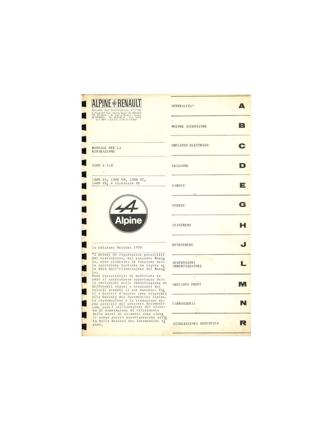 RENAULT Alpine A110 1970 Car Shop manual Catalogue Book Paper