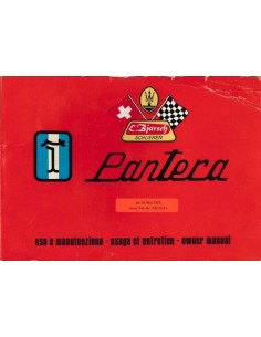 1976 DE TOMASO PANTERA OWNERS MANUAL