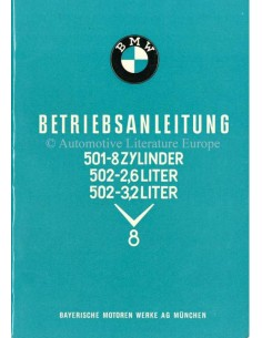 1957 BMW 501 502 V8 OWNERS MANUAL GERMAN