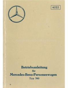 1934 MERCEDES BENZ TYPE 380 OWNERS MANUAL GERMAN