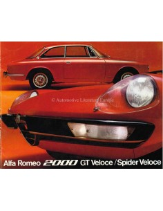 1971 ALFA ROMEO 2000 GT /SPIDER VELOCE BROCHURE DUTCH