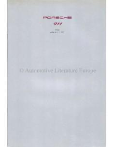 1993 PORSCHE 911 PREISLISTE DEUTSCH