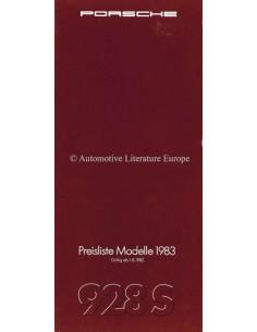 1983 PORSCHE 928 S PRICE LIST GERMAN