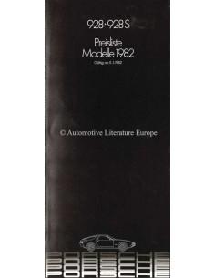 1982 PORSCHE 928 PRICE LIST GERMAN