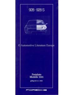 1981 PORSCHE 928 PRICE LIST GERMAN