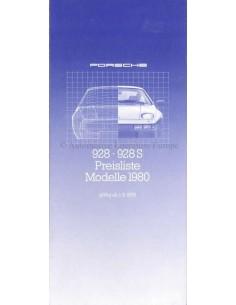 1980 PORSCHE 928 PRICE LIST GERMAN