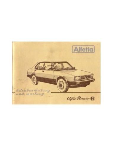 1983 ALFA ROMEO ALFETTA INSTRUCTIEBOEKJE DUITS