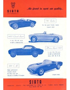 1953 SIATA RANGE DATENBLATT ENGLISCH