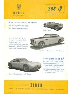 1953 SIATA 208 S DATENBLATT ENGLISCH
