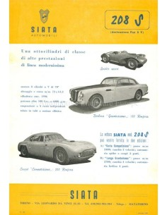 1953 SIATA 208 S LEAFLET ENGLISH