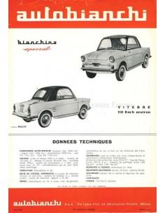 1960 AUTOBIANCHI BIANCHINA SPECIAL DATENBLATT FRANZÖSISCH