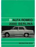 1974 ALFA ROMEO 2000 BERLINA OWNERS MANUAL ENGLISH