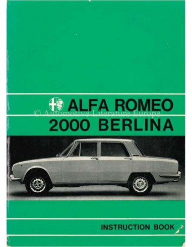 1974 ALFA ROMEO 2000 BERLINA OWNERS MANUAL ENGLISH