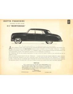 1947 ISOTTA FRASCHINI 8C MONTEROSA BROCHURE ENGLISH