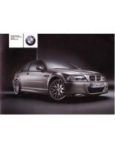 2003 BMW M3 CSL INSTRUCTIEBOEKJE BIJLAGE ENGELS